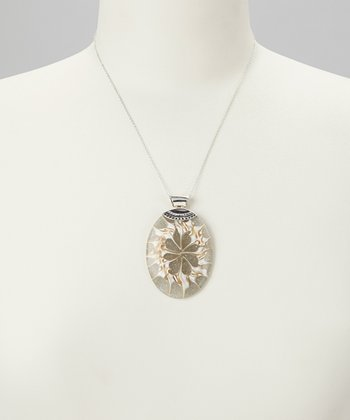 Gray Shell & Sterling Silver Oval Pendant Necklace