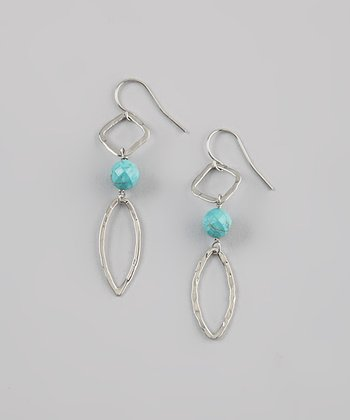Turquoise & Sterling Silver Faceted Drop Earrings