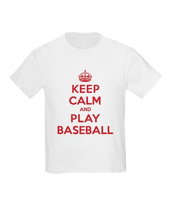 White 'Keep Calm and Play Baseball' Tee - Kids