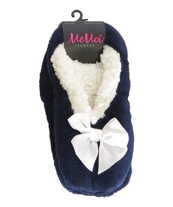 Navy Comfort Bow Slipper - Set of Three