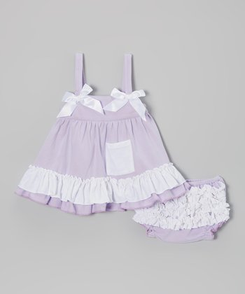 Lavender Ruffle Swing Tunic & Diaper Cover - Infant