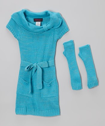 Aqua Sparkle Belted Sweater Dress & Arm Warmers - Girls