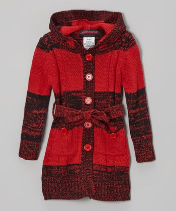 Red Stripe Hooded Cardigan - Toddler