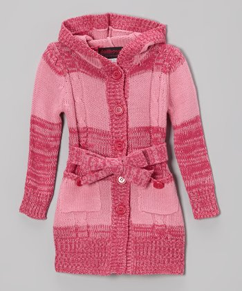 Pink Stripe Hooded Cardigan - Toddler