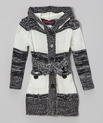 Black & White Stripe Hooded Cardigan - Toddler