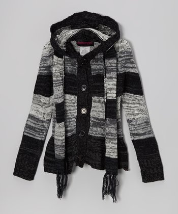 Black Stripe Hooded Cardigan & Scarf - Toddler & Girls