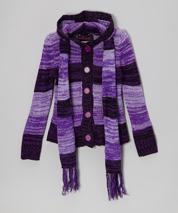 Purple Stripe Hooded Cardigan & Scarf - Toddler & Girls