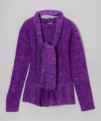Purple Sparkle Cable-Knit Sweater & Scarf - Girls