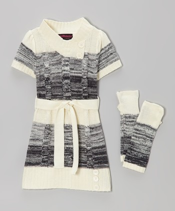 White Cable-Knit Sweater Dress & Arm Warmers - Girls