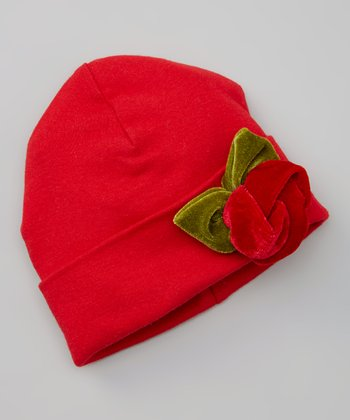 Red & Green Velvet Rose Beanie