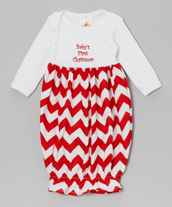 Red 'Baby's 1st Christmas' Gown - Infant