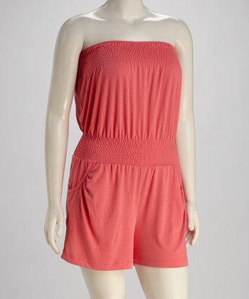 Salmon Plus-Size Romper