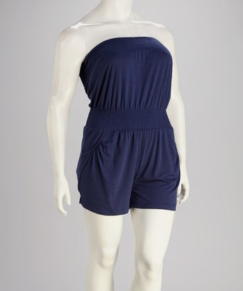 Navy Plus-Size Romper