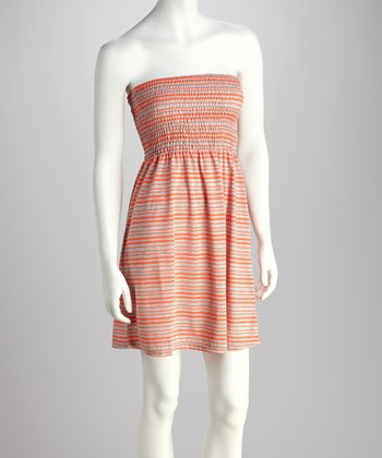 Coral & Heather Gray Stripe Tube Dress