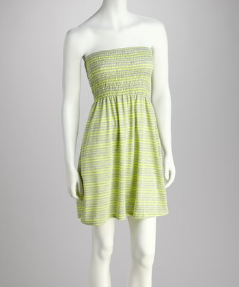 Lime & Heather Gray Stripe Tube Dress