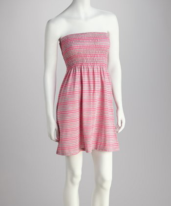 Pink & Heather Gray Stripe Tube Dress