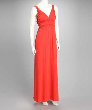 Orange V-Neck Maxi Dress