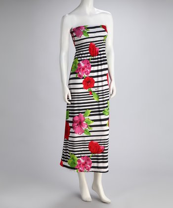 Black & White Stripe Flower Shirred Maxi Dress