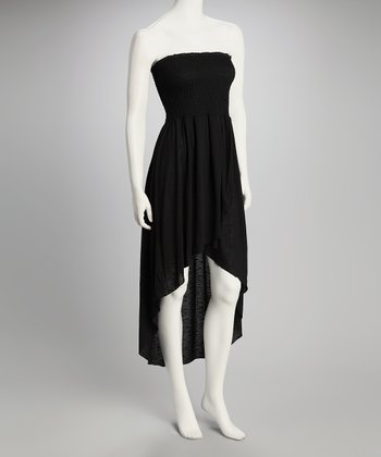 Black Shirred Strapless Dress