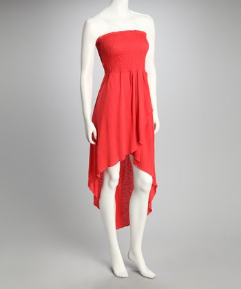 Coral Shirred Strapless Dress