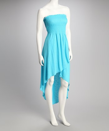 Turquoise Shirred Strapless Dress