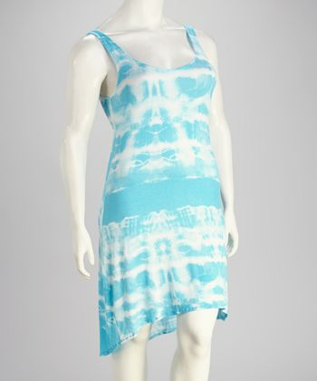 Turquoise Tie-Dye Plus-Size Hi-Low Dress