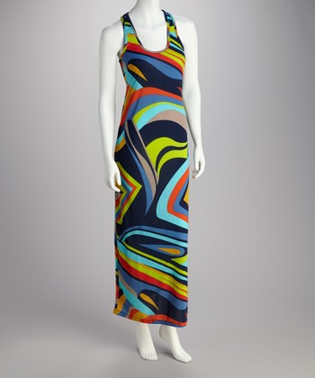 Blue & Lime Abstract Racerback Dress