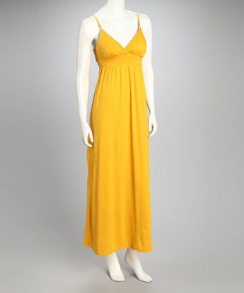 Deep Yellow Sash Maxi Dress