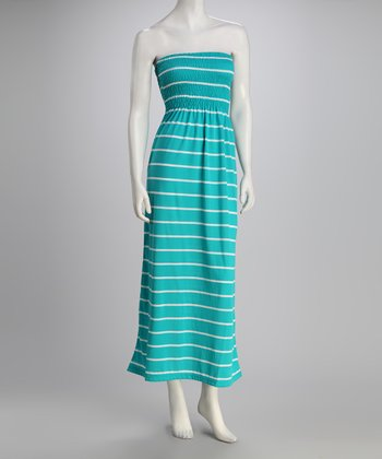 Aquamarine Stripe Strapless Maxi Dress