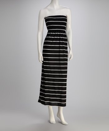 Black Stripe Strapless Maxi Dress