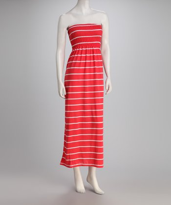 Coral Stripe Strapless Maxi Dress