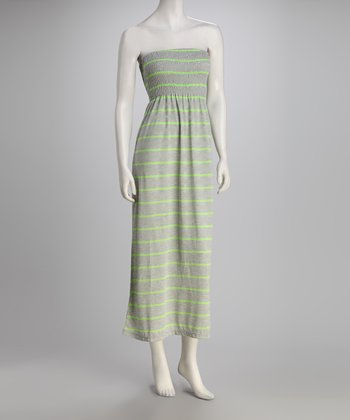 Lime Stripe Strapless Maxi Dress
