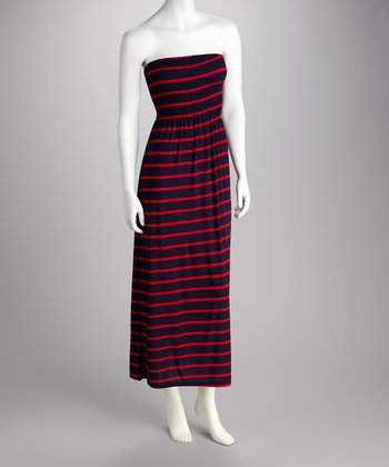Red & Navy Stripe Strapless Maxi Dress