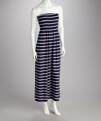 Navy & White Stripe Strapless Maxi Dress