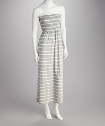 Gray & White Stripe Strapless Maxi Dress