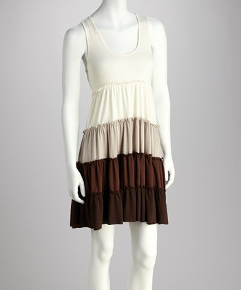 Tan & Brown Tiered Dress