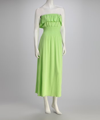 Lime Ruffle Strapless Dress