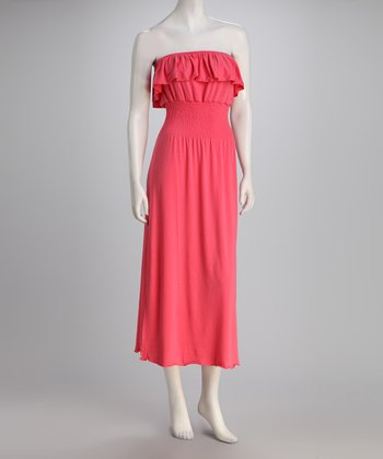 Salmon Ruffle Strapless Dress