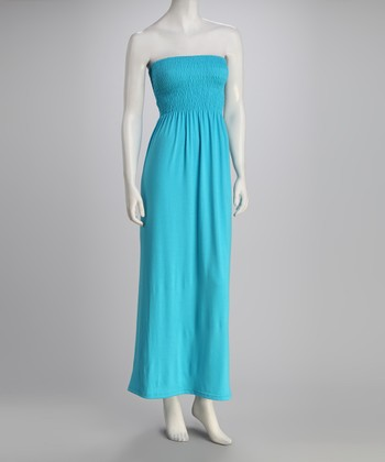 Bright Turquoise Strapless Maxi Dress