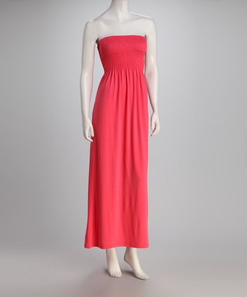 Salmon Strapless Maxi Dress