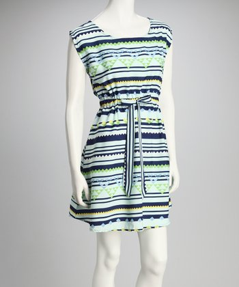 Mint & Blue Geometric Sash-Tie Dress