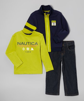 Peacoat & Yellow Zip-Up Jacket Set - Toddler & Boys