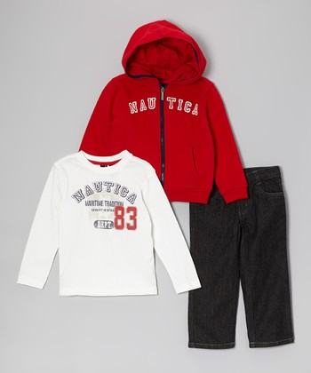 Holly Red Zip-Up Hoodie Set - Toddler & Boys