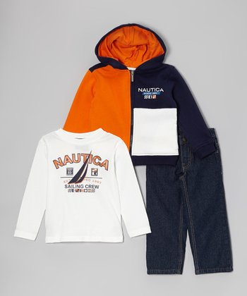 Orange 'Sailing Crew' Zip-Up Hoodie Set - Toddler & Boys