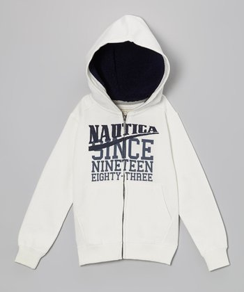 Cream Plush Zip-Up Hoodie - Boys