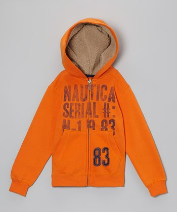 Orange Plush Zip-Up Hoodie - Boys