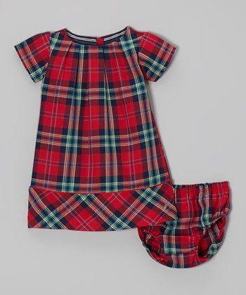 Red Plaid Dress & Diaper Cover - Infant & Toddler