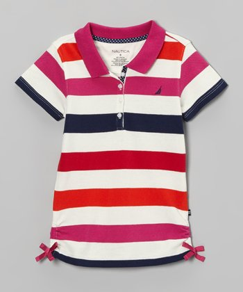Bright Pink & White Stripe Polo - Girls
