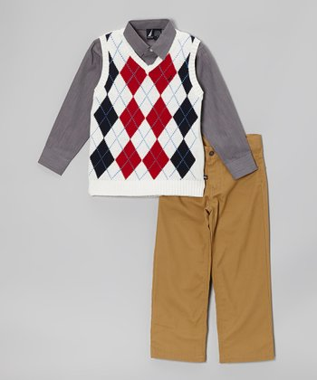 Cream Argyle Sweater Vest Set - Toddler & Boys
