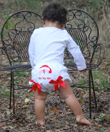 White & Red Santa Bow Diaper Cover - Infant